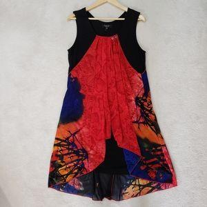 Papillon Sleeveless Layered Large Red Black Dress